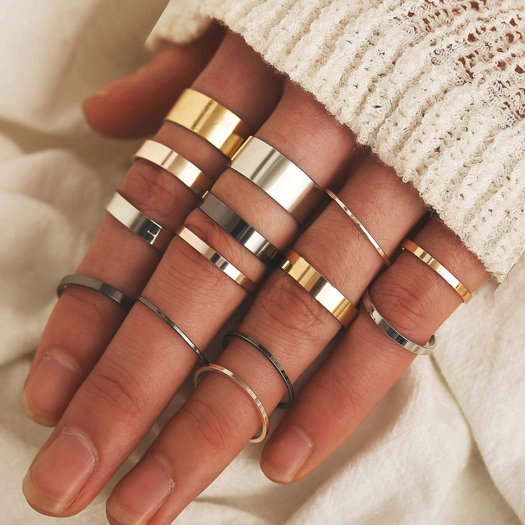Bmadge Dainty Joint Knuckle Rings Set Gold Minimalist Mid Stackable Finger Rings Jewelry for Women and Girls