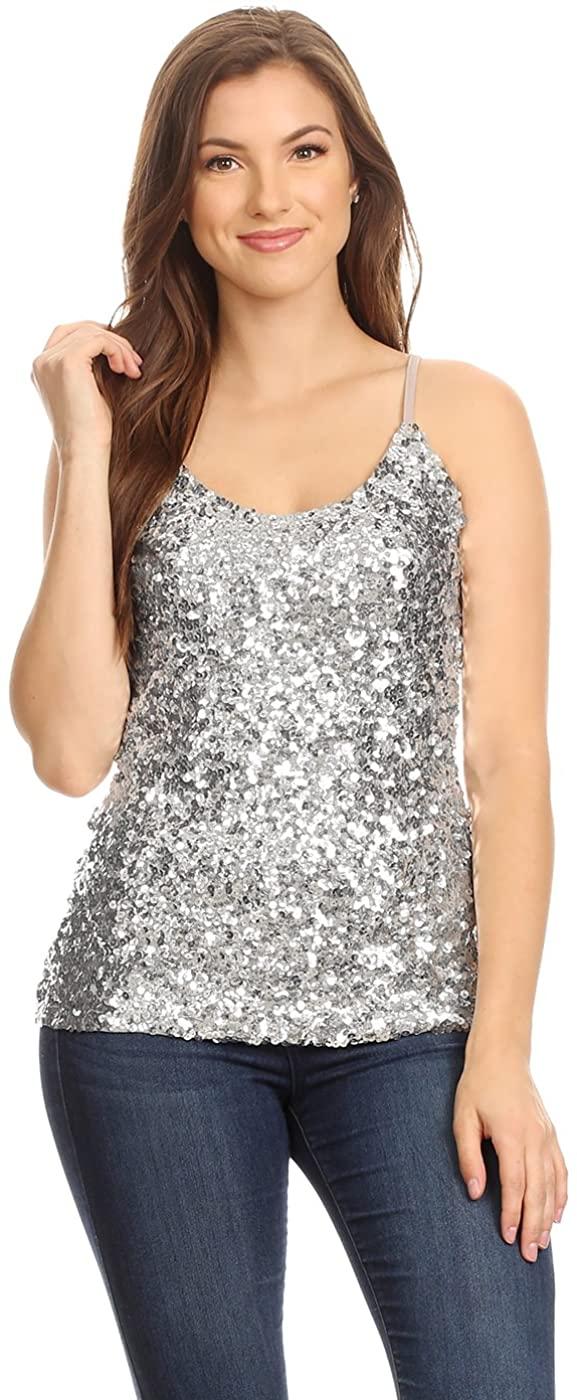 Anna-Kaci Womens Shimmer Sequins Club Spaghetti Strap Camisole Vest Tank Tops