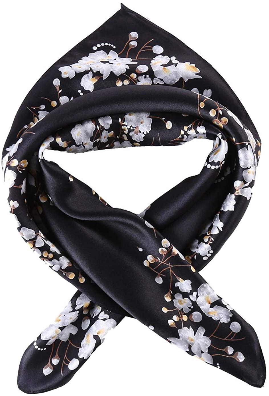 JWSilk Women's 100% Silk Neckerchief Small Square Silk Scarf