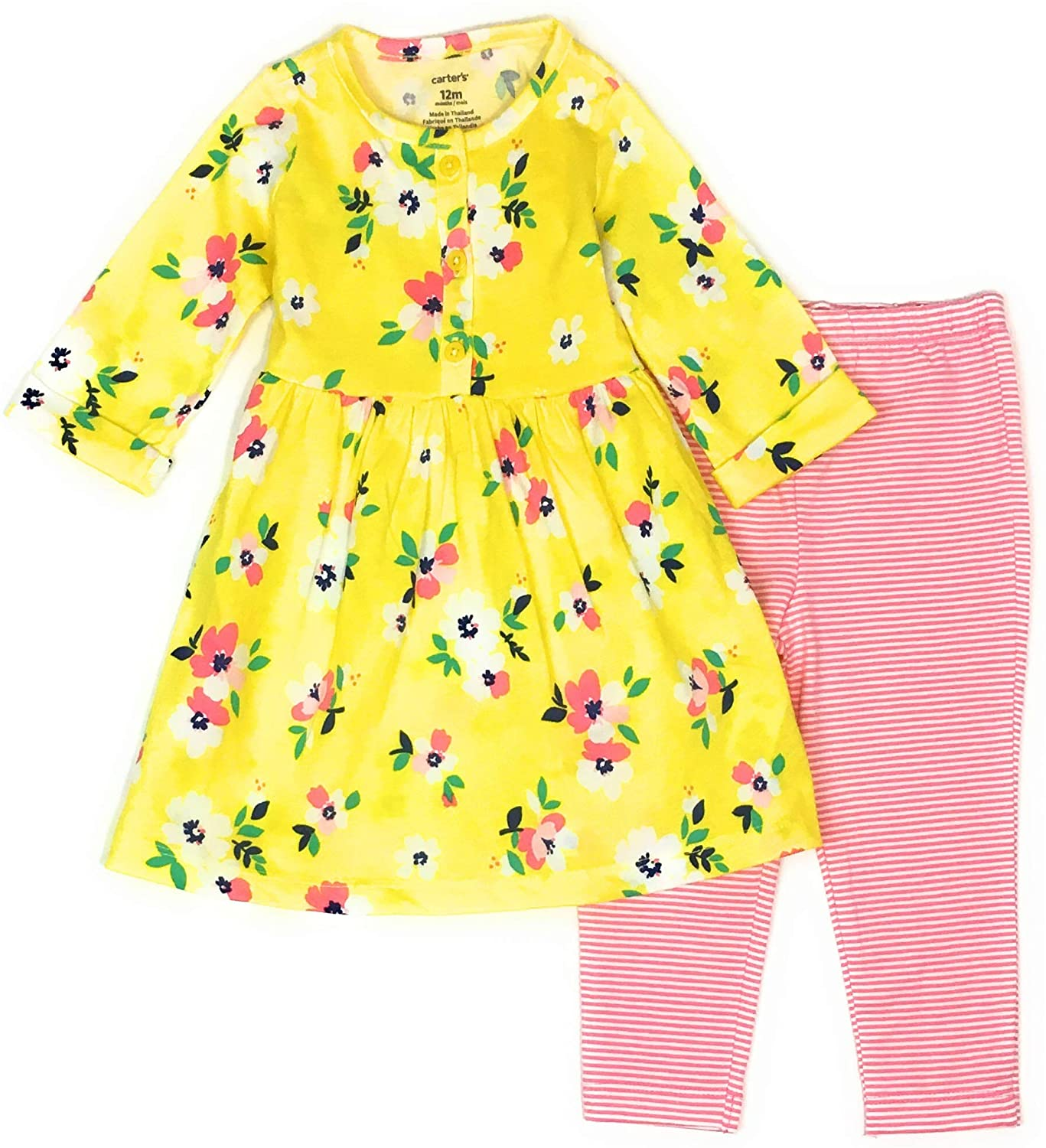 Carter's Baby Girls 2-Piece Dress with Legging Set (3 Months, Yellow/Pink Floral)