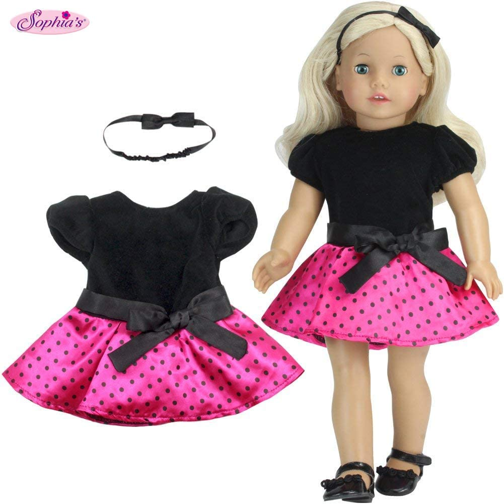2 Pc. Polka Dot Doll Dress Set of Dress & Headband for 18 Inch Dolls Fits 18 Inch American Girl Dolls & More! (Doll Shoes Sold Separately) Doll Clothes Party Dress in Black & Hot Pink