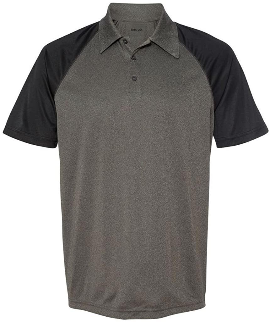 Joe's USA Men's Moisture Wicking Short Sleeve Three-Button Raglan Polos in 11 Colors