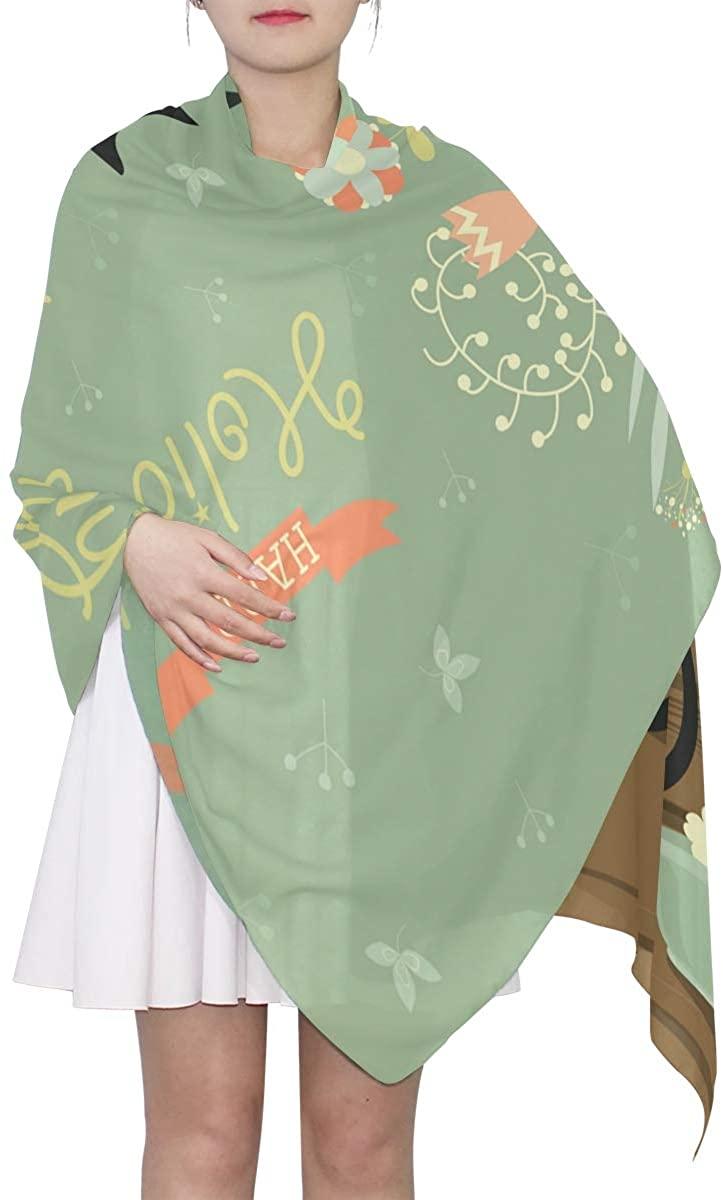 EELa Long Scarf Women Polyester Lightweight Cat Soft Fashion Printed Wrap Shawl Spring Winter 70x35in