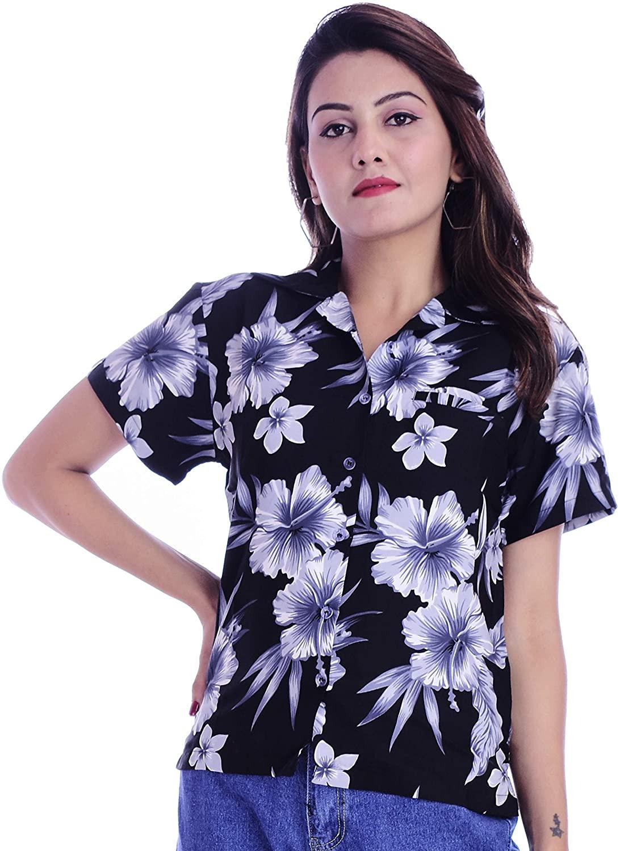 Classic Hawaiian Shirts for Women Button Down Blouse Beach Party