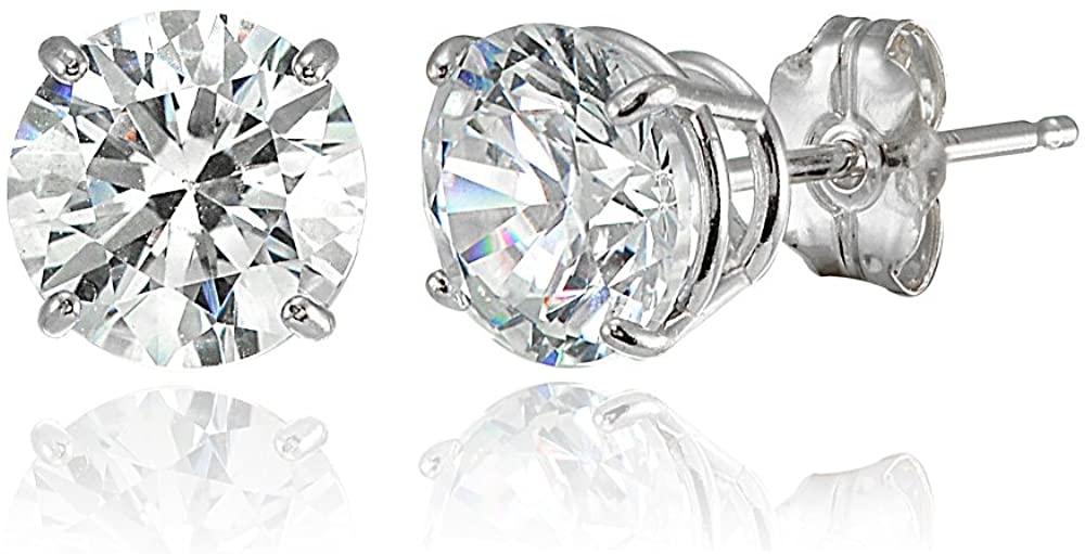 14K Gold Round Prong-set Stud Earrings set with Swarovski Zirconia