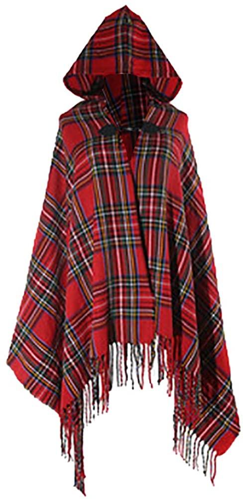 QZUnique Simple Plaid Button Blanket Scarf Shawl Women's Wrap Hooded