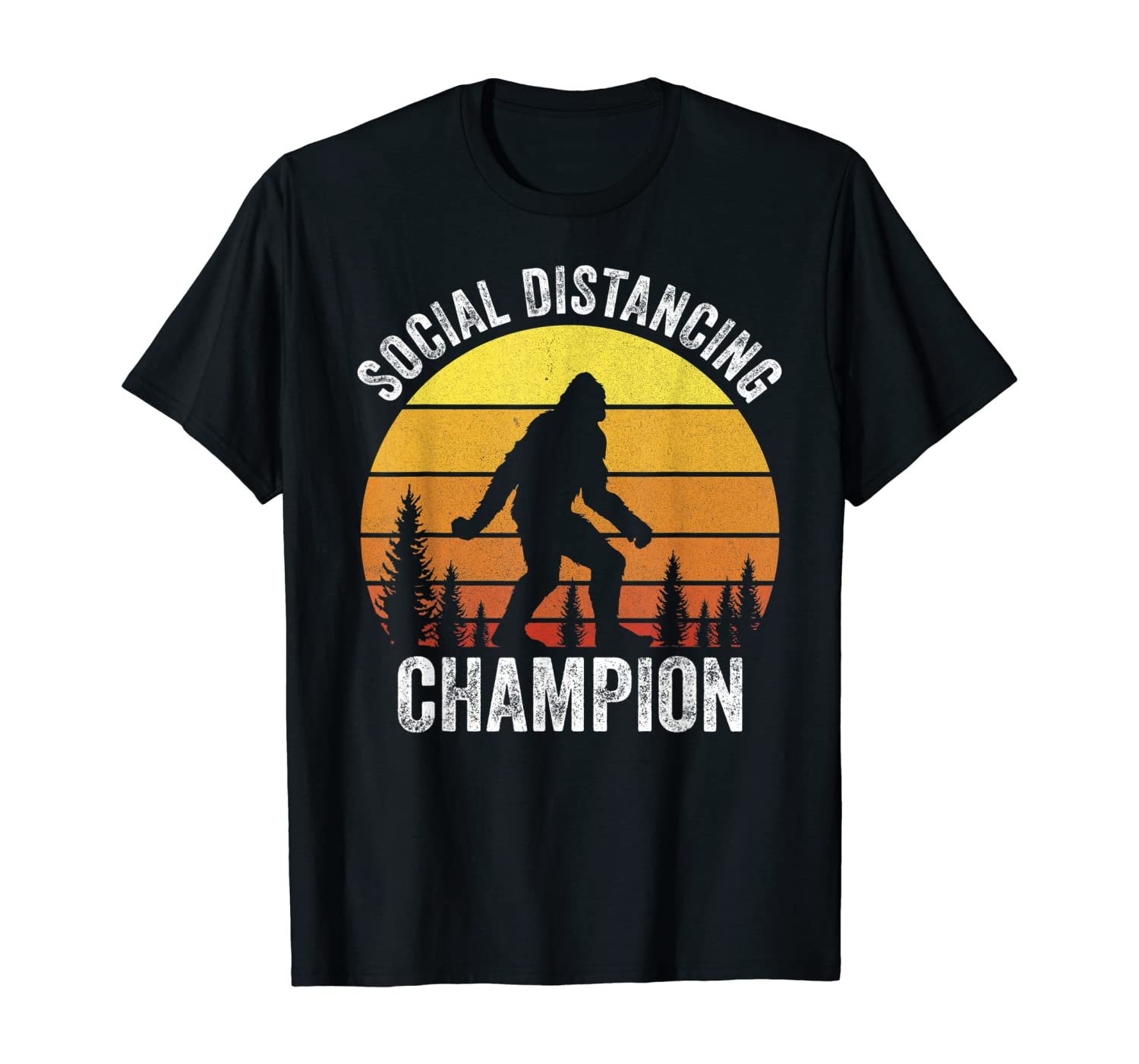 Retro Vintage Social Distancing Champion Shirt Funny Bigfoot T-Shirt