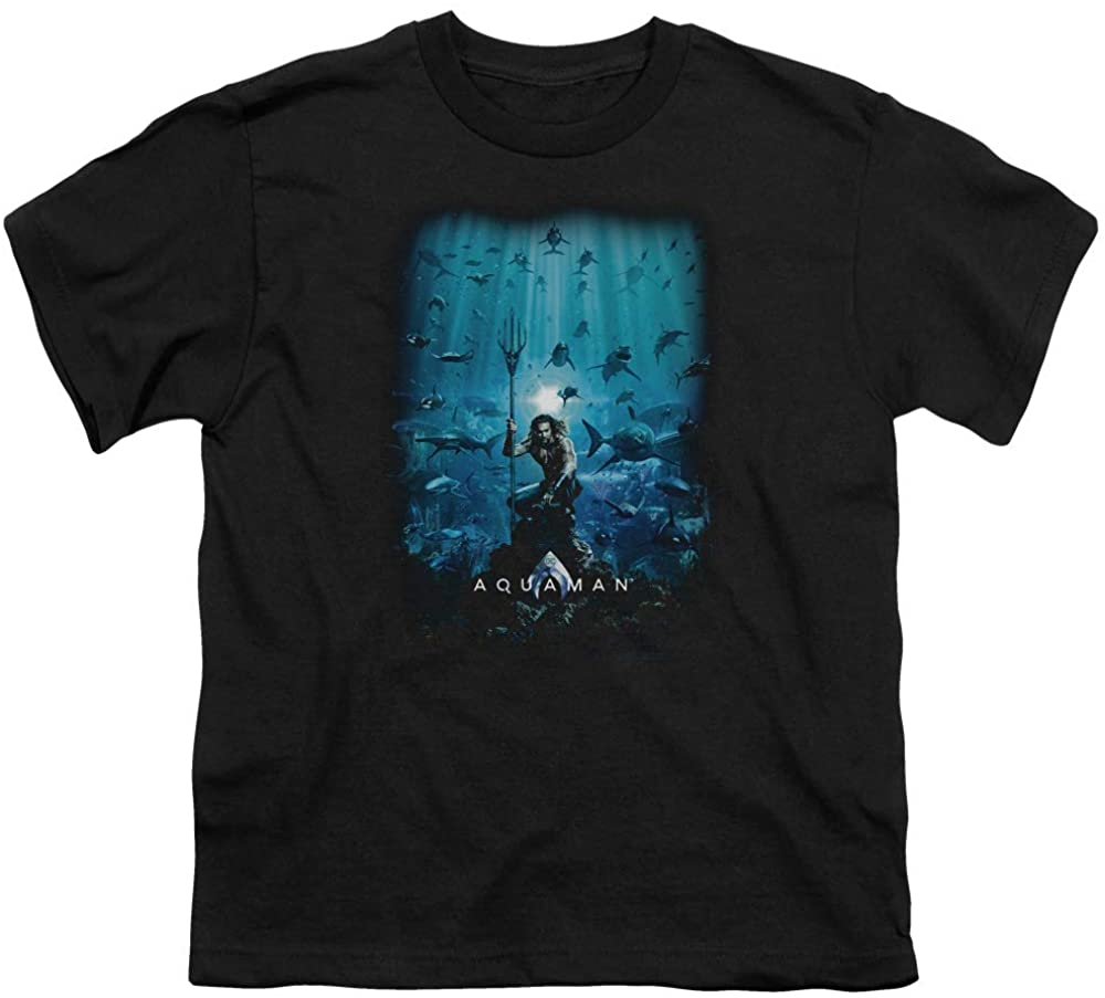 A&E Designs Aquaman Movie Kids T-Shirt Poster Black Tee