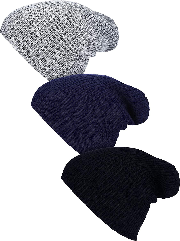 3 Pieces Slouchy Beanie Oversized Slouch Knit Hat Winter Warm Skull Cap Wrap Cap for Men Women Favors