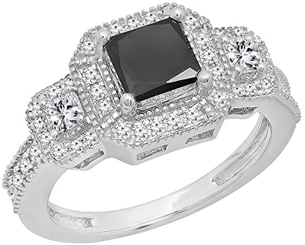Dazzlingrock Collection 2.00 Carat (ctw) 10K Gold Princess & Round Cut Black & White Diamond Octagon Engagement Ring 2 CT