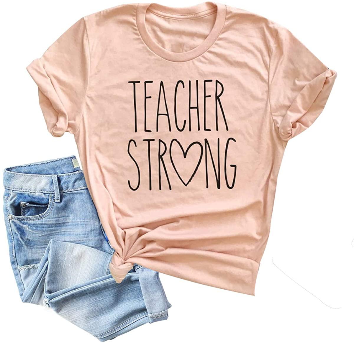 Teachers Day T Shirt Women Strong Letter Print Love Heart Graphic Tees Short Sleeve Tops