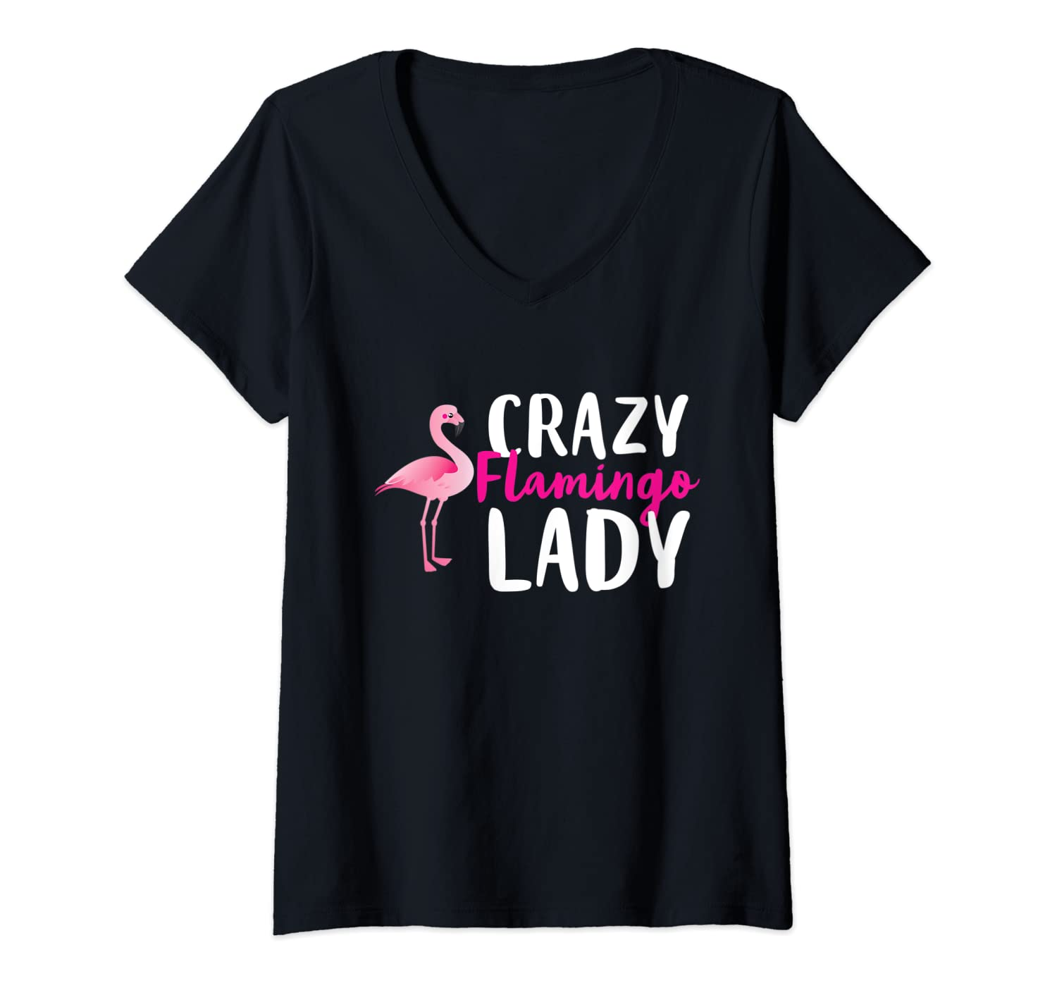 Womens Crazy Flamingo Lady Wading Bird Species Animal Lover Humor V-Neck T-Shirt