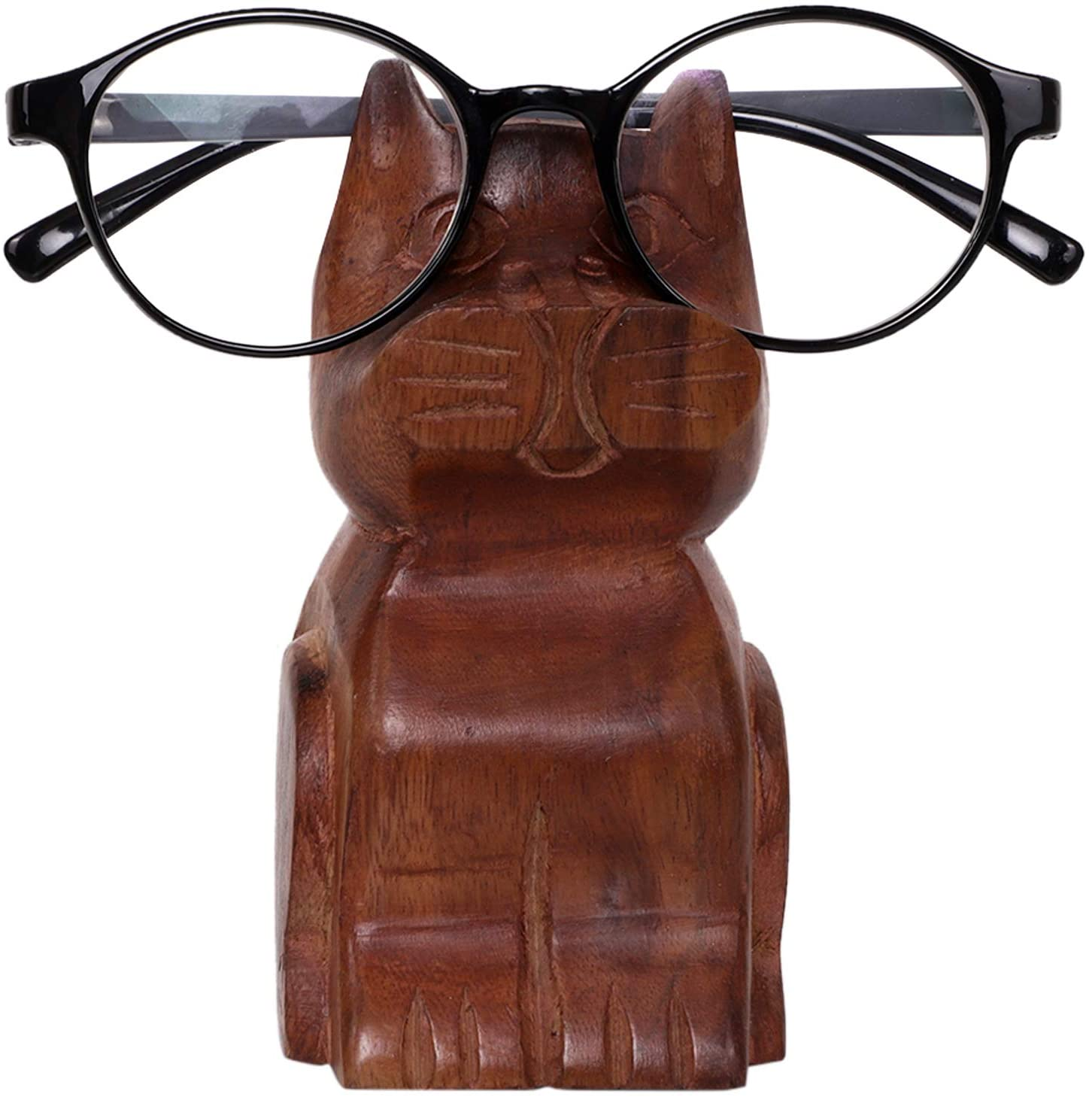 S.B.ARTS Handcrafted Wooden Spectacle Holder Cat Shaped Eyewear Retainer-Eyeglass Spectacle Specs Holder–Spec Stand-Optical Glass Accessories-Display Stand-Home Decor Accessories for Living Room