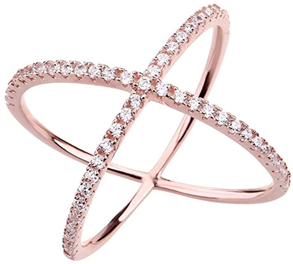 Womens Criss Cross Ring X Ring Micropave CZ Inlay 14K Rose Gold Plating Size 6 7 8 9