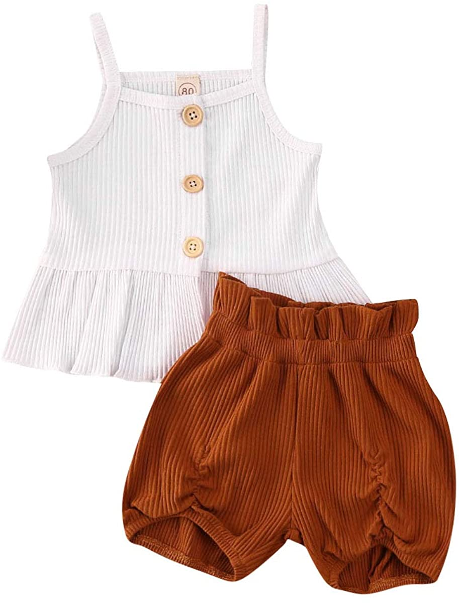 Toddler Baby Girls Sleeveless Tops Knit Vest Summer Shorts Pants 2Pcs Floral Outfits Set