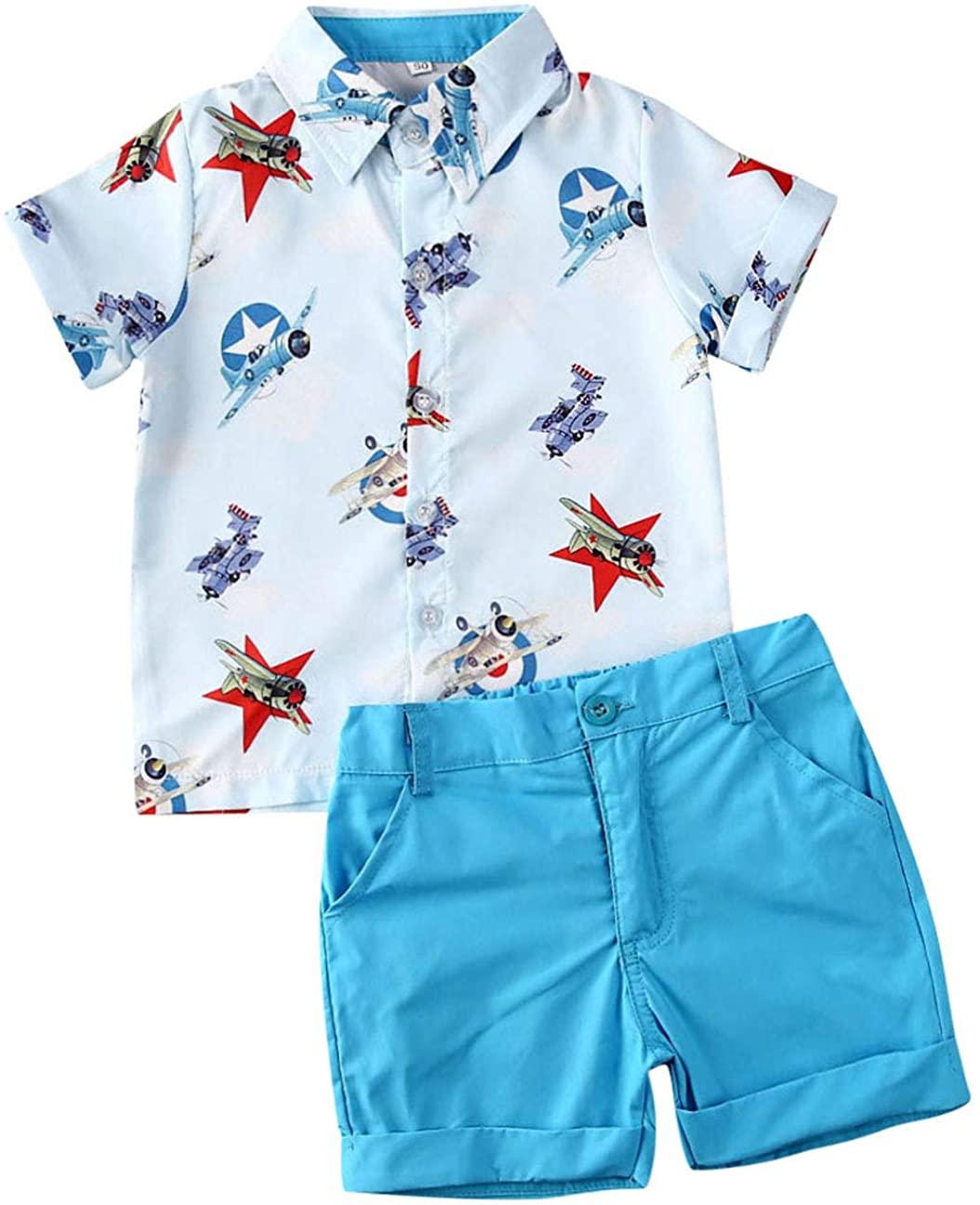 Toddler Baby Boys Print2Pcs Summer Outfits Short Sleeve Button Down Shirt & Casual Shorts Set