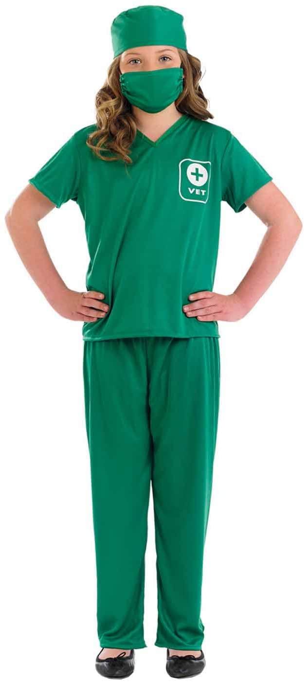 Kids Vet Costume Childrens Green Scrubs Animal Doctor Uniform - Medium