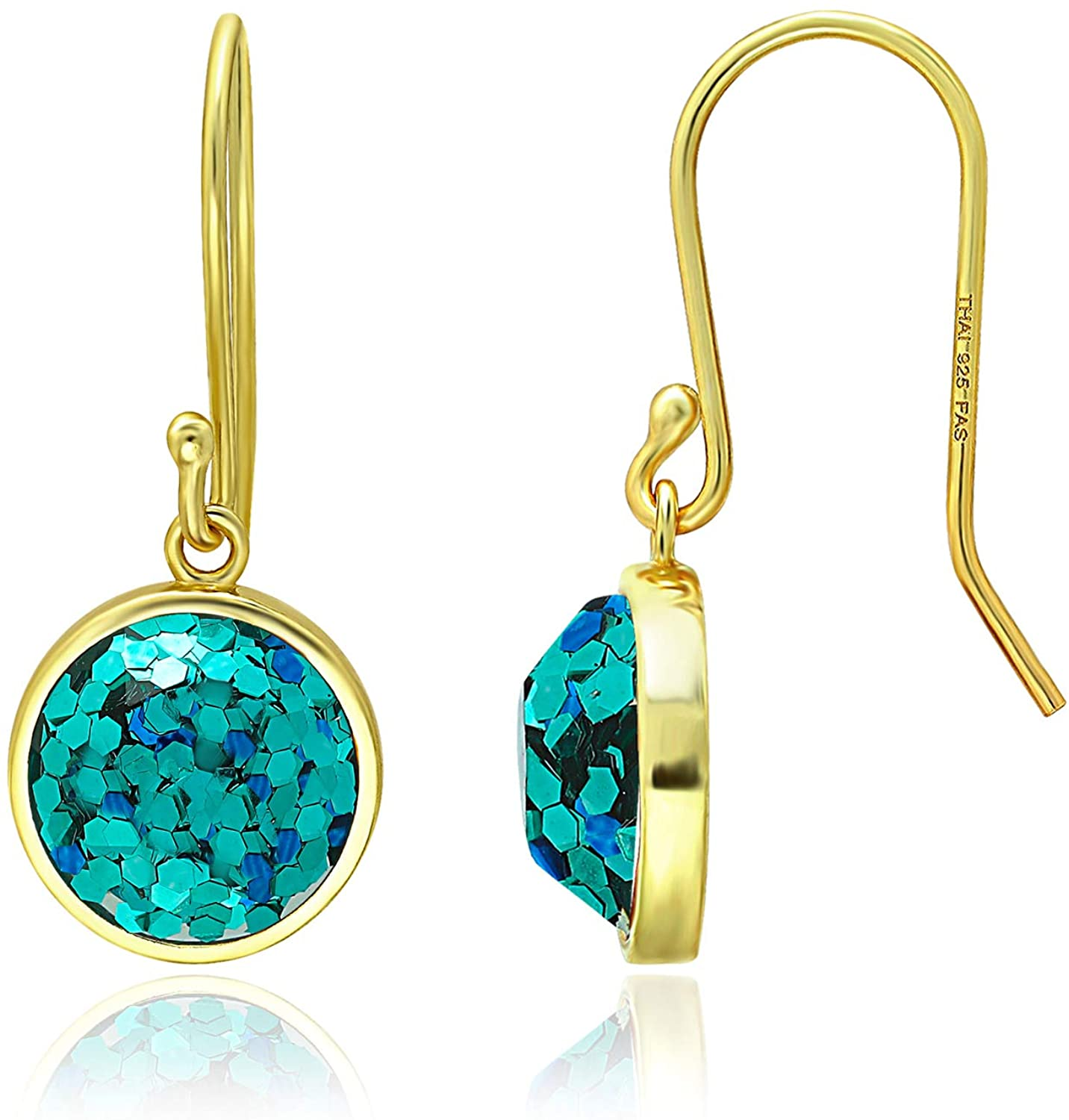 925 Sterling Silver Round Faceted Glitter Drop Dangle Earrings for Women, 10mm Christmas, New Year