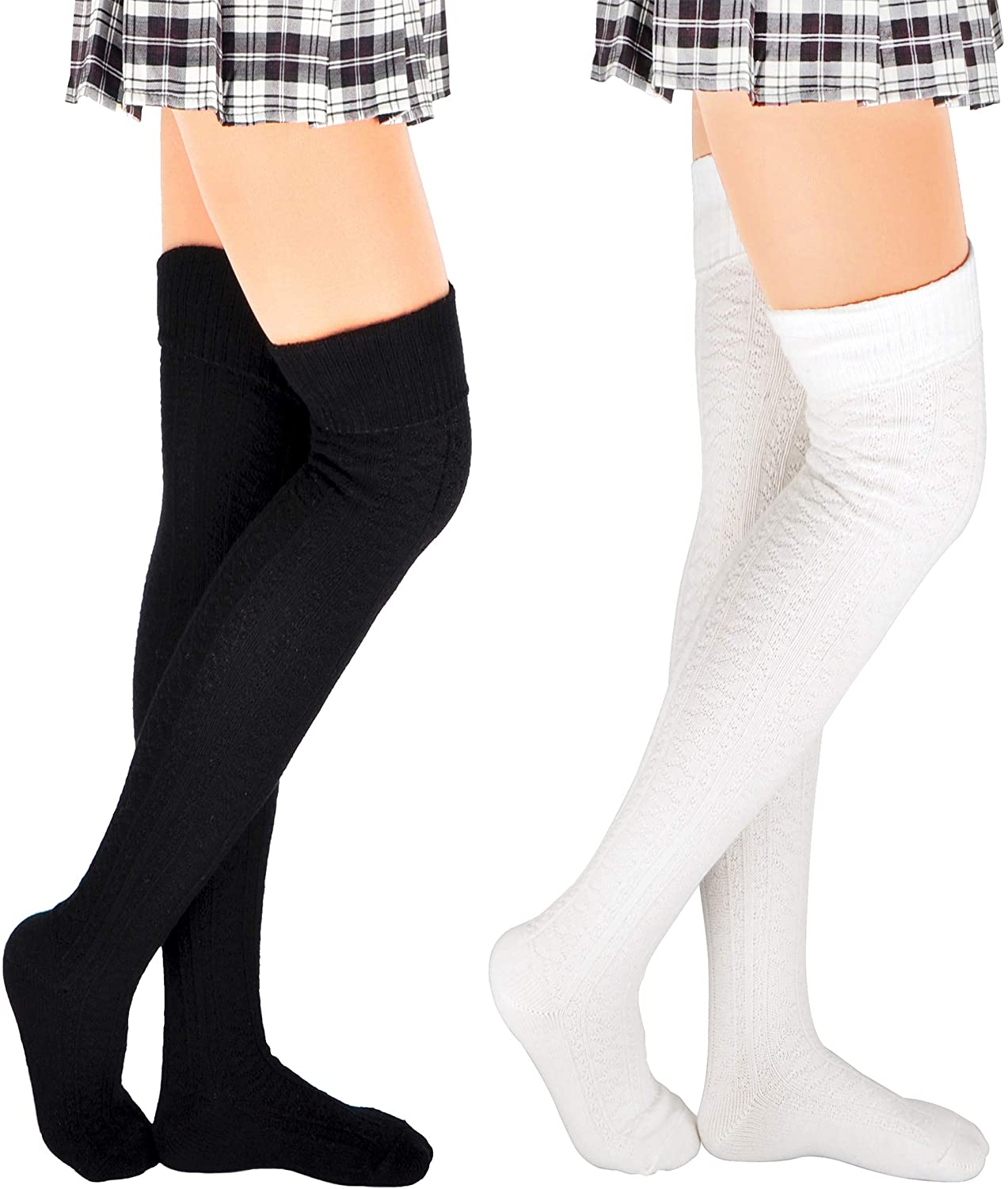 Thigh High Socks for Women Cotton Plus Size Over the Knee Stockings Leg Warmers