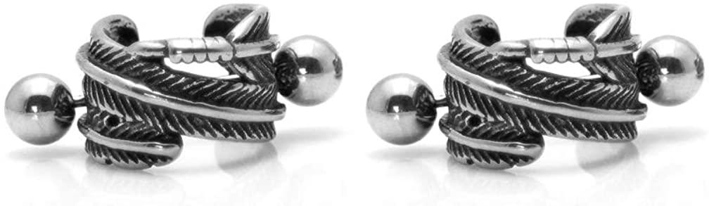 Xusamss Punk Titanium Steel Feather Barbell Cartilage Stud Earrings