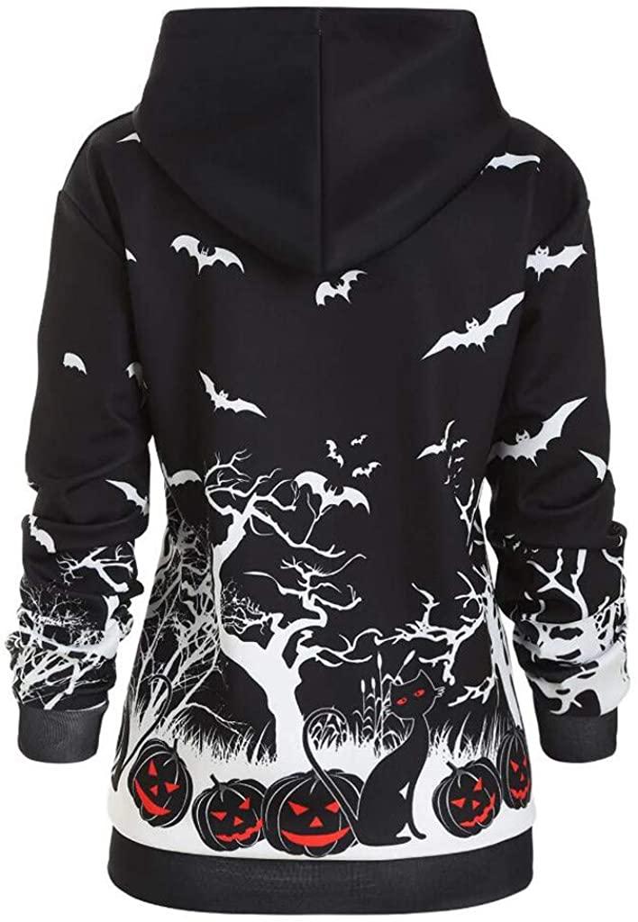 Fashion Women Long Sleeve Sweatshirt Hoodie Halloween Print Pullover Top Blous