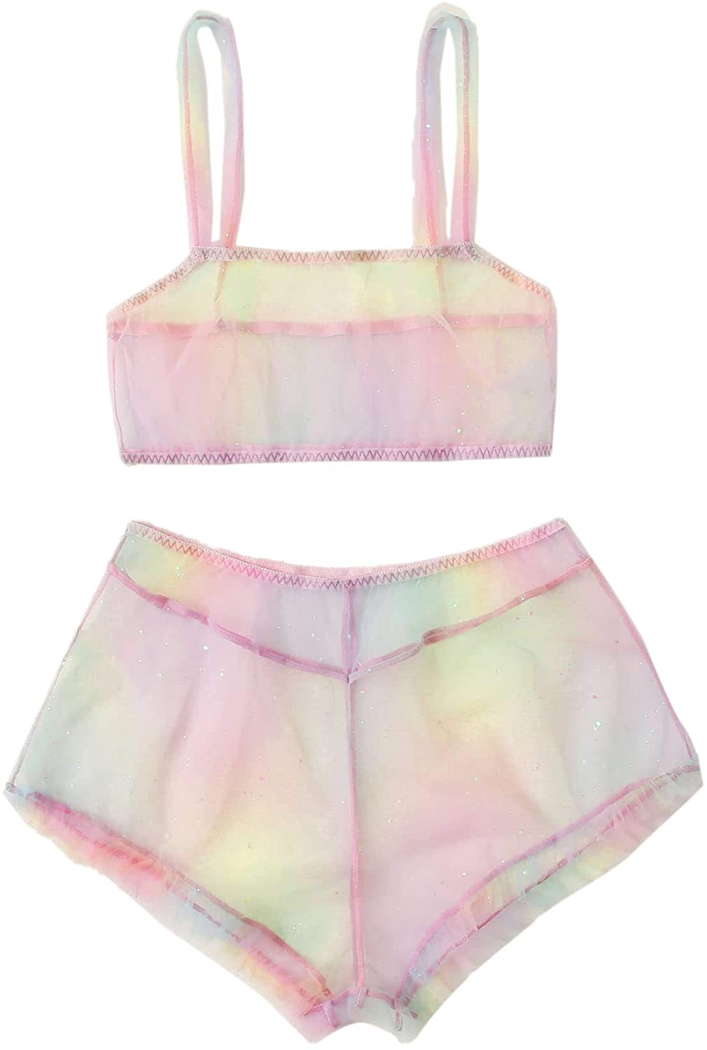 SOLY HUX Women's Sexy Mesh Sheer Cami Top and Shorts 2 Piece Lingerie Set