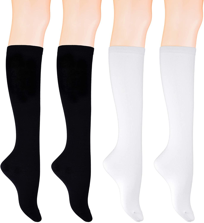 KONY Women's 4 Pairs Casual Knee High Socks Soft Stretch Cotton All Season Gift Size 6-10