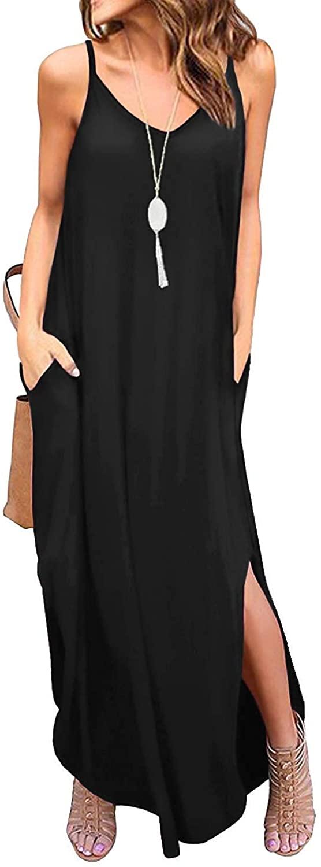 DUOSTICK Black Maxi Dress Beach Dresses for Women Split Casual Loose Straps Maxi Dress with Pockets - XS, Black