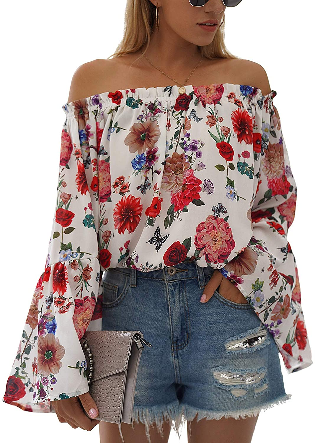 BMJL Women's Cute Off The Shoulder Tops Long Sleeve Hawaiian Shirts Loose Floral Blouse Tees