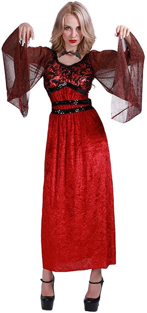EraSpooky Women's Vampire Countess Costume Halloween Gothic Vampiress Dress with Bat Choker