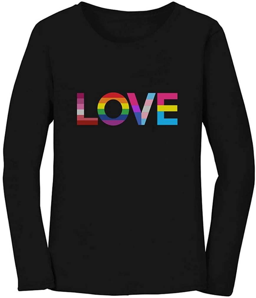 Love is Love Gay Pride Top Rainbow Flag Heart LGBT Women Long Sleeve T-Shirt