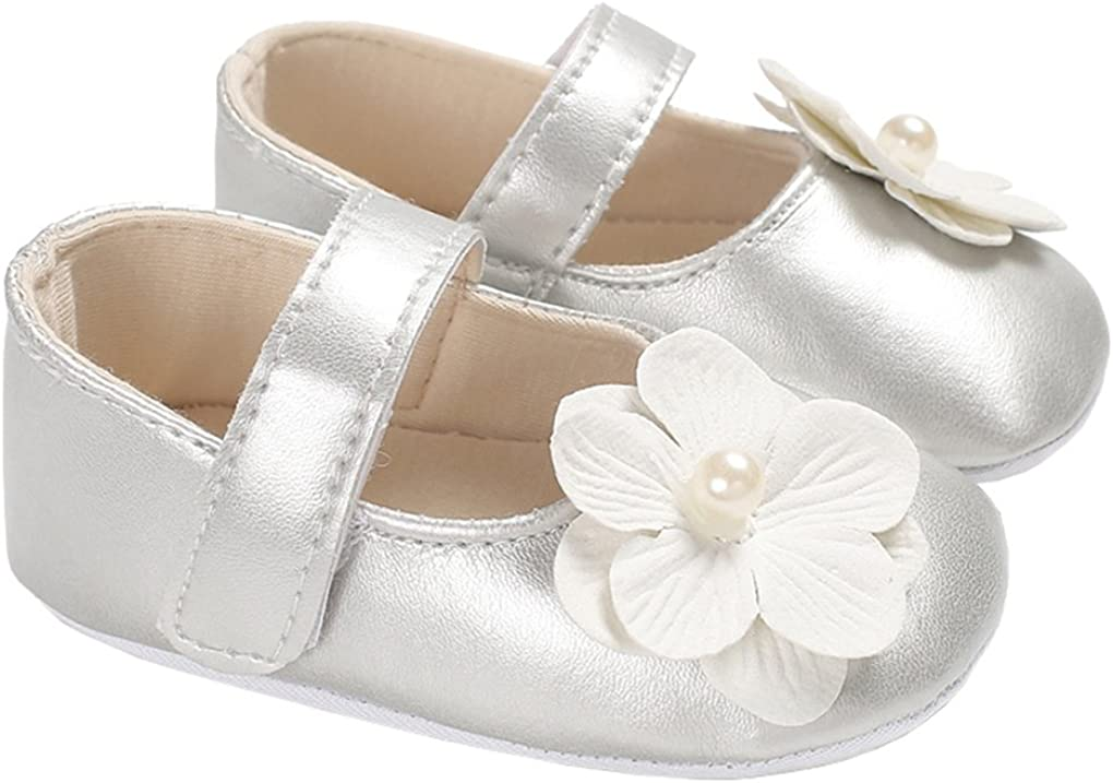 Baby Girl Pearl Flowers Mary Jane Flats Princess Dress Shoes Soft Sole Crib Shoe