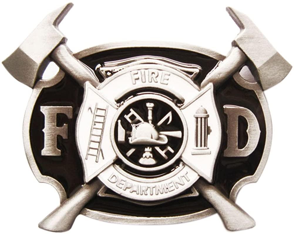 New Vintage Style Enamel Firefighter FD Cross Belt Buckle