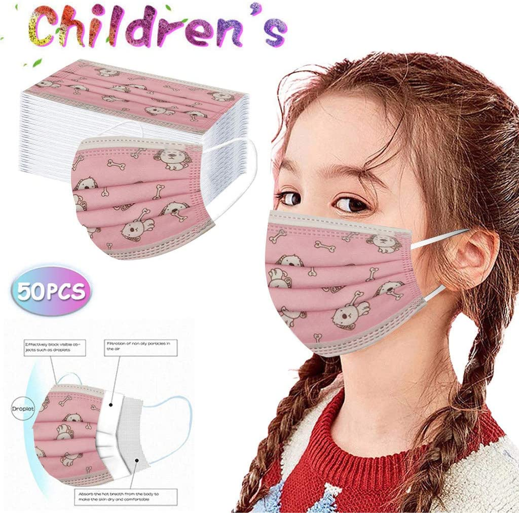 AIHOU Kids Disposable Face Mask 50PCS Cartoon Breathable Comfortable 3 Ply Earloop Protective Cloth Masks Childrens Kids Face Masks Outdoor School