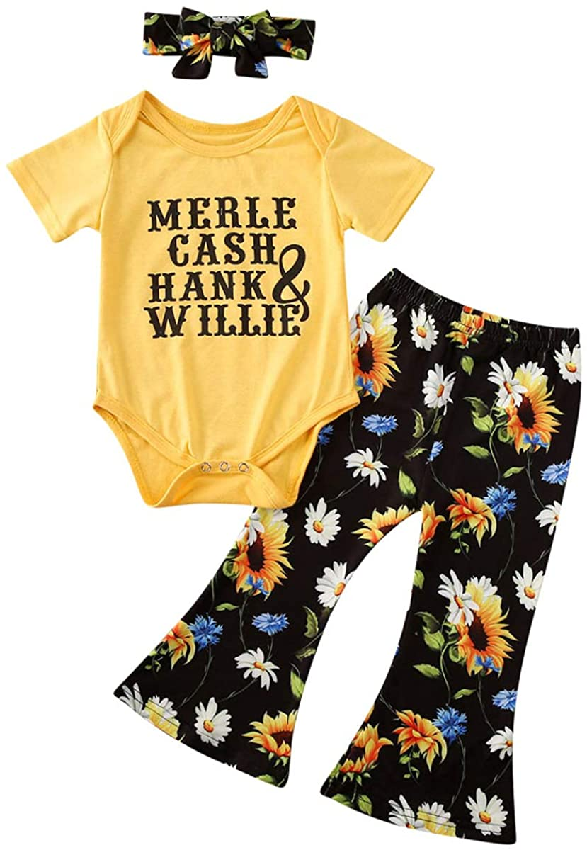 Baby Girls 3Pcs Clothes Infant Letter Romper Flowers Pants and Headband Outfit Set