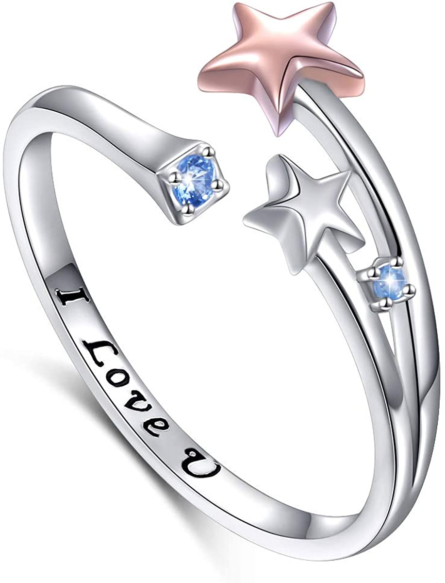 FLYOW 925 Sterling Silver Adjustable Rose Gold Shooting Star Open Ring Engrave I Love You for Women (5)