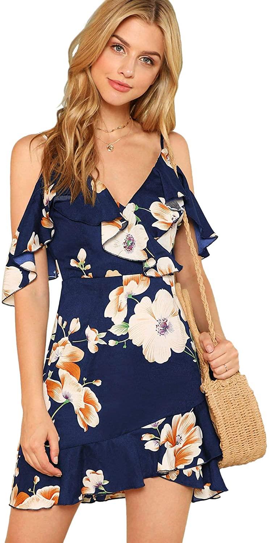 MakeMeChic Women's Cold Shoulder V Neck Floral Wrap Beach Ruffle Mini Boho Dress