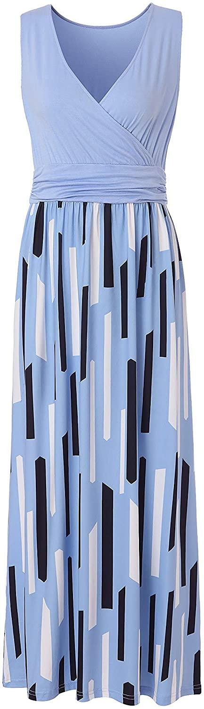 AmnSAmL Women's Cross V Neck Loose Plain Long Dress Maxi Dresses for Women