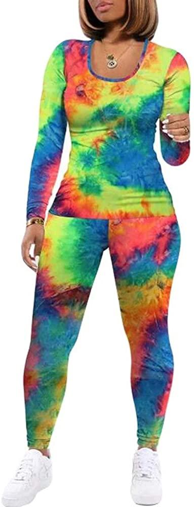 Joupbjw 2 Piece Womens Long Sleeve Set Casual Tie Dye T-Shirts and Bodycon Leggings Joggers Sportswear