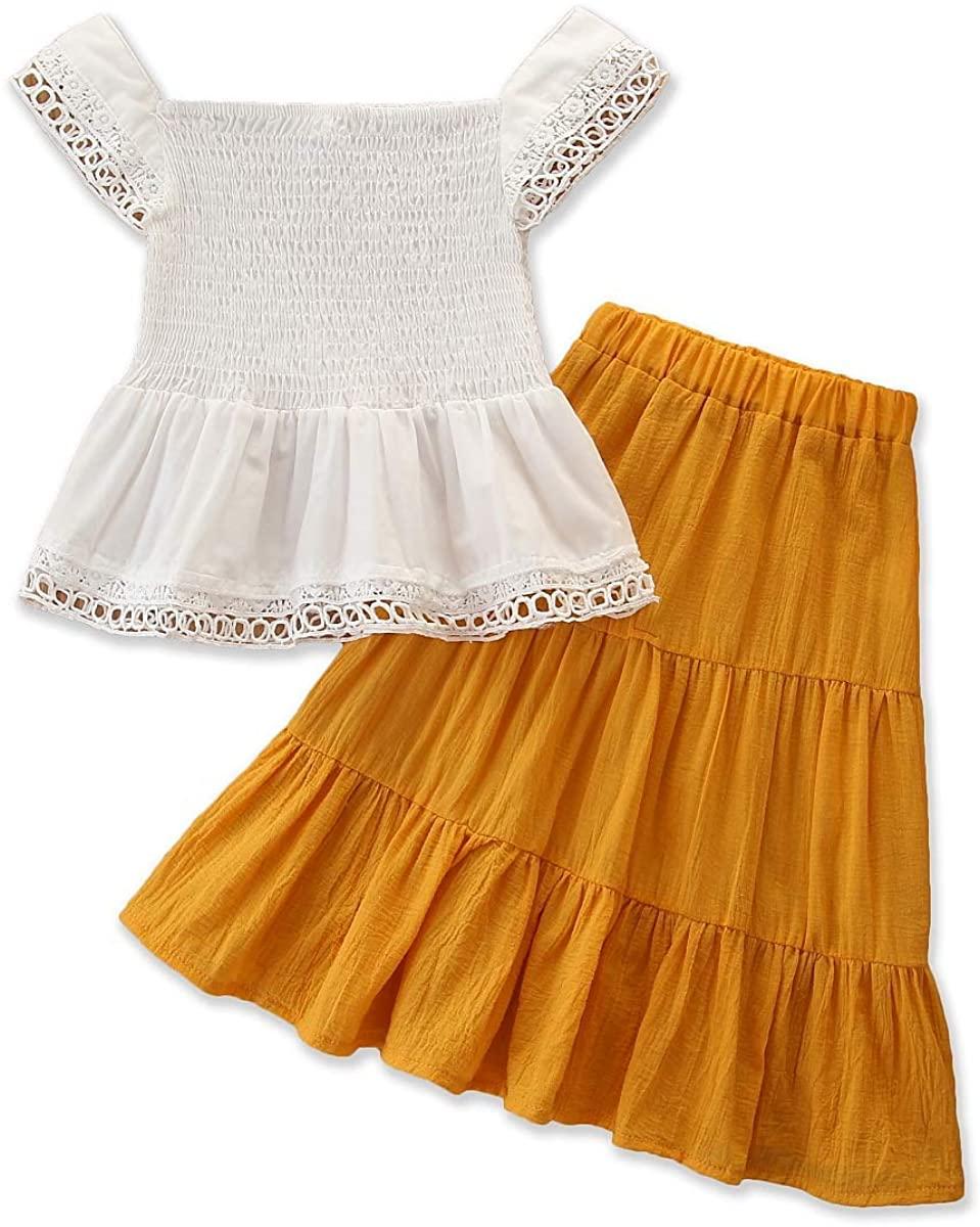 Kids Toddler Girl Clothes Off Shoulder Crop Top Blouse High Waist Ruffled Maxi Skirt Summer Outfits with Headband