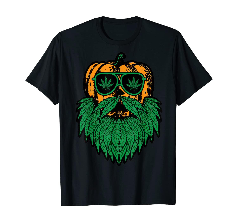 Weed Bearded Pumpkin Badass Costume Cool Halloween Gifts T-Shirt