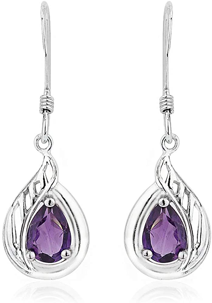 Vanbelle Sterling Silver Jewelry Pear Shape Dangle Earrings with Amethyst Stone and Rhodium Plated for Women and Girls