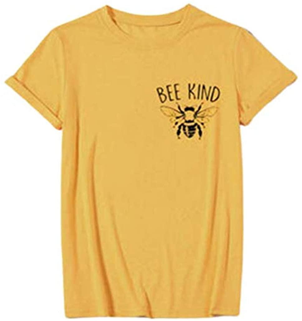 Bee Happy T-Shirts Womens Bee Kind Blouses Summer Cute Top Tees