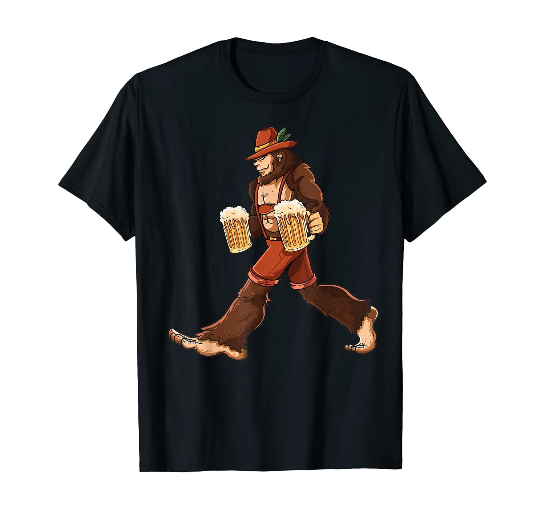 Funny Bigfoot Prost Beer Mug Park Ranger Lederhosen Beerfest T-Shirt