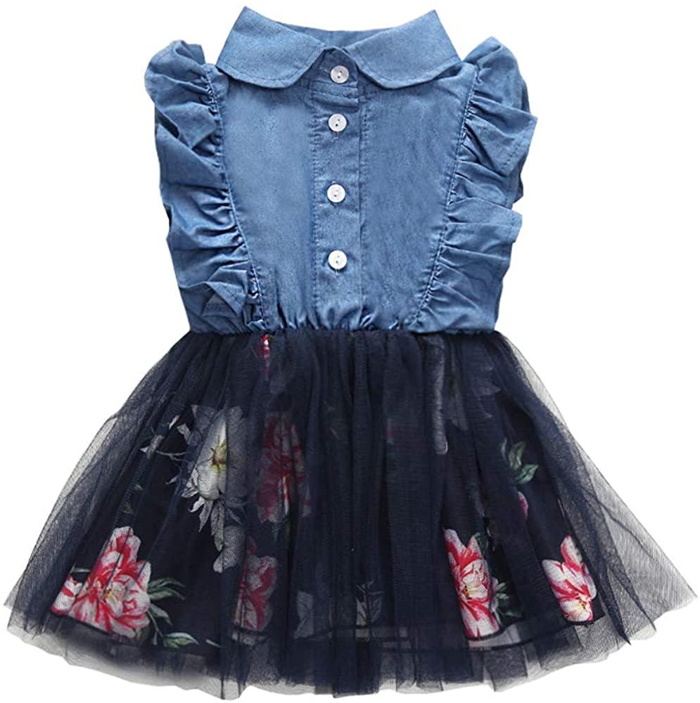 Yokidi Baby Girl Denim Dress 6M-2T Infant Girl Ruffle Sleelve Tutu Jeans Dresses Summer Outfits