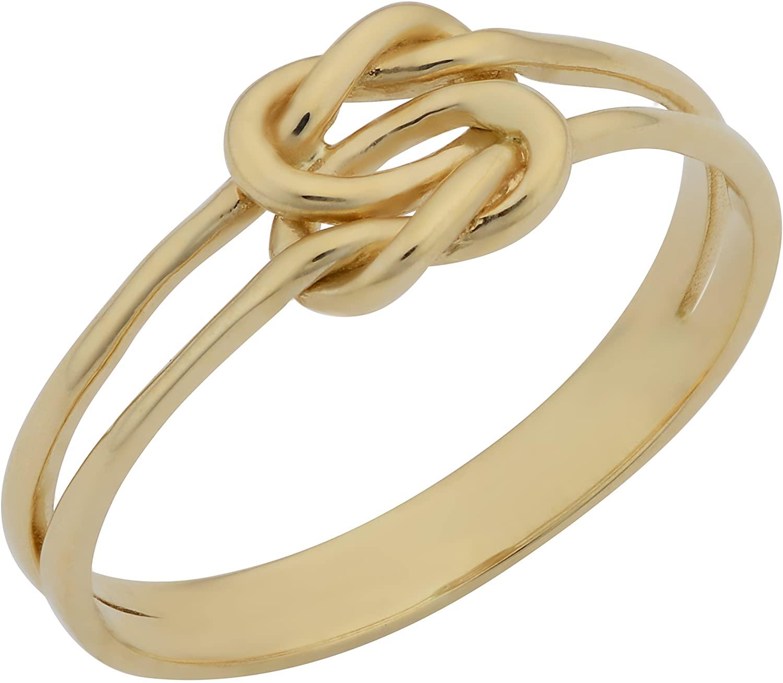 Kooljewelry 14k Yellow Gold High Polish Double Love Knot Ring