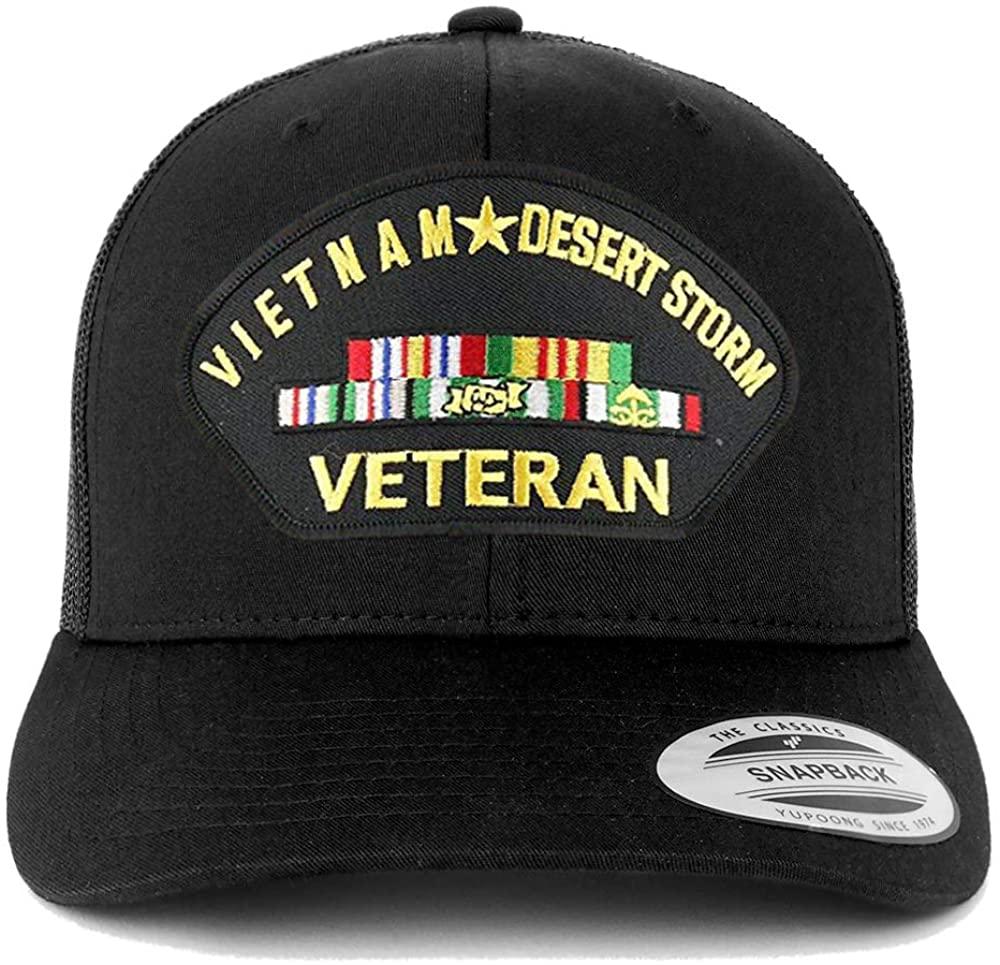 Armycrew Flexfit Oversize XXL Vietnam Desert Storm Veteran Patch Retro Trucker Mesh Cap