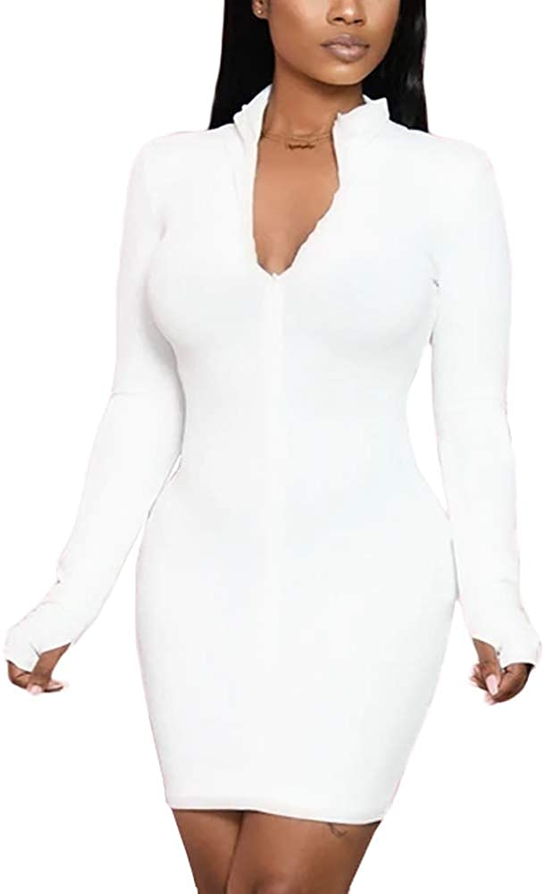 Womens Sevy Bodycon Long Sleeve Front High Neck Zip-up Slim Mini Dress Plus Size Club Outfits