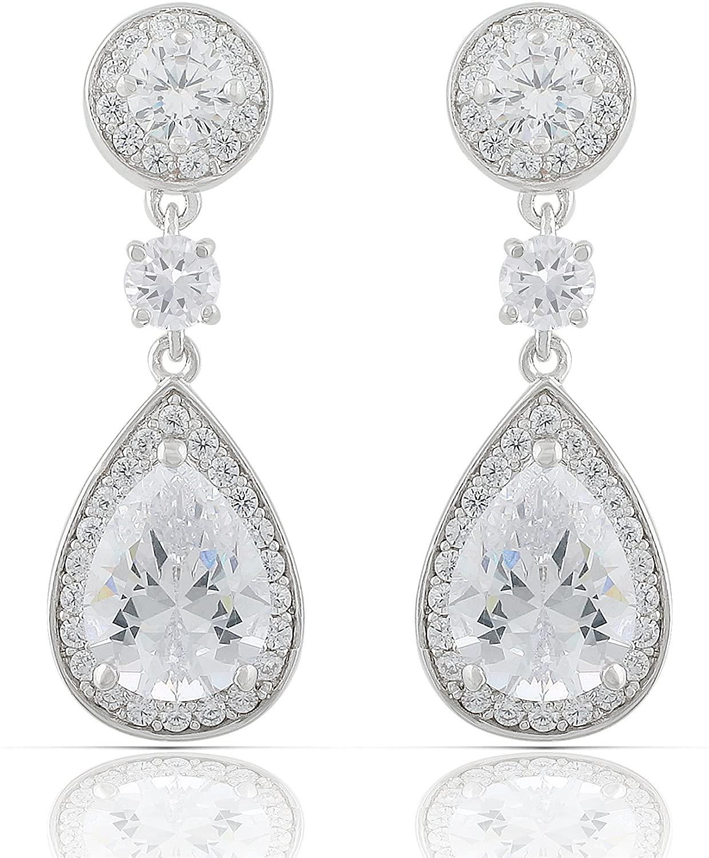 JanKuo Jewelry Rhodium Plated Bridal Cubic Zirconia Teardrop Dangle Earrings