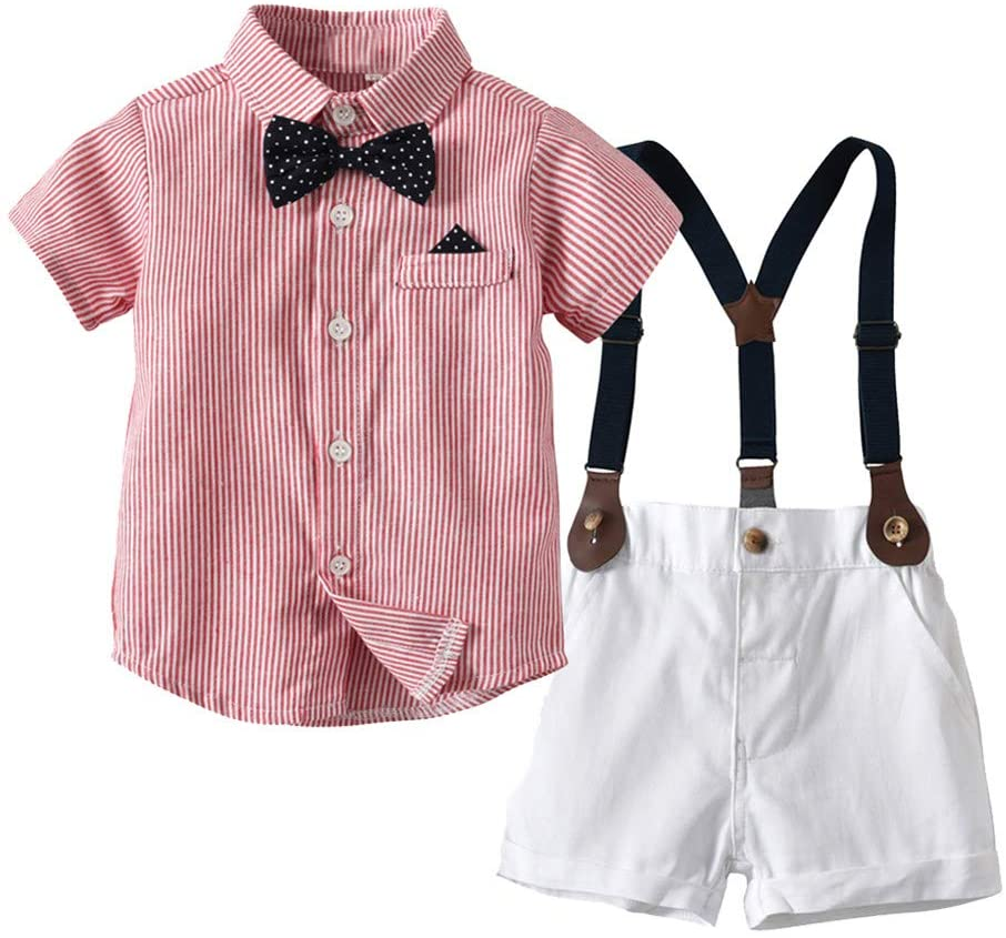 Infant Baby Boys Gentleman Bow Tie T-Shirt Tops+Shorts Overalls Clothes Outfits